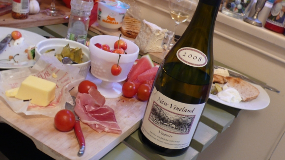 2008 New Vineland Viognier matched great with Trader Joe's goodies.